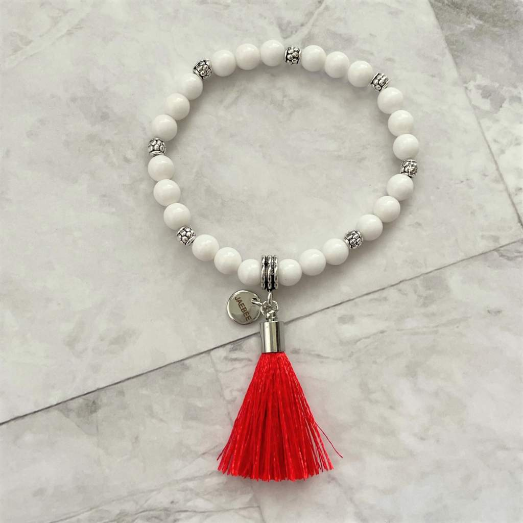 White Czech Glass Beaded Bracelet with Red Tassel