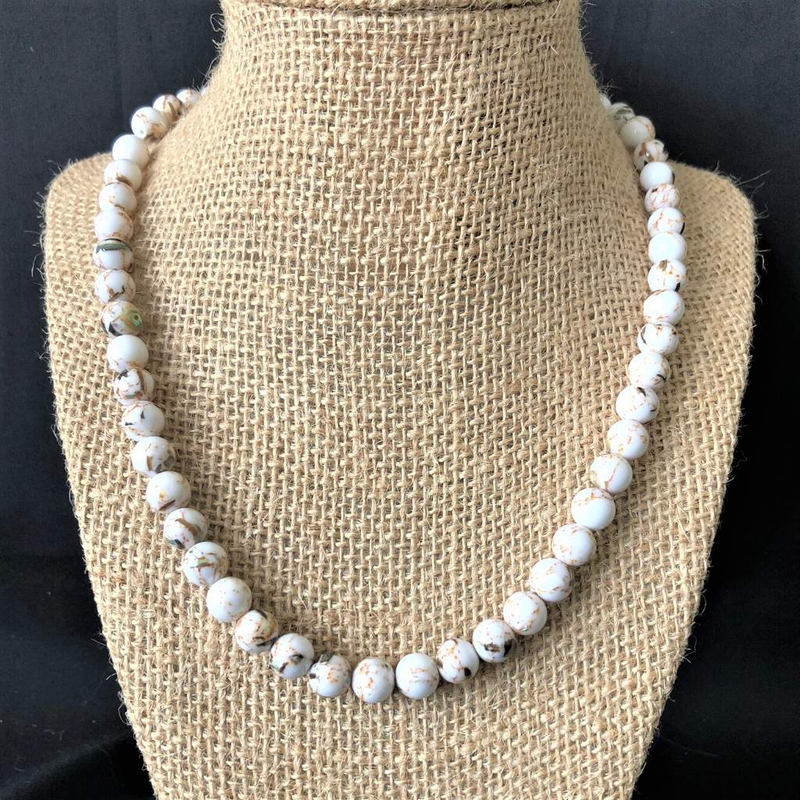 White Mosaic Shell Mens Beaded Necklace - JaeBee Jewelry