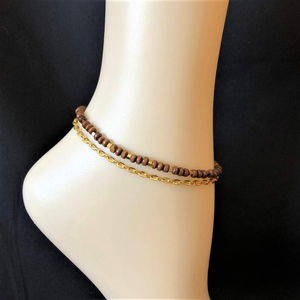 Wood and Gold Chain Layered Anklet - JaeBee Jewelry