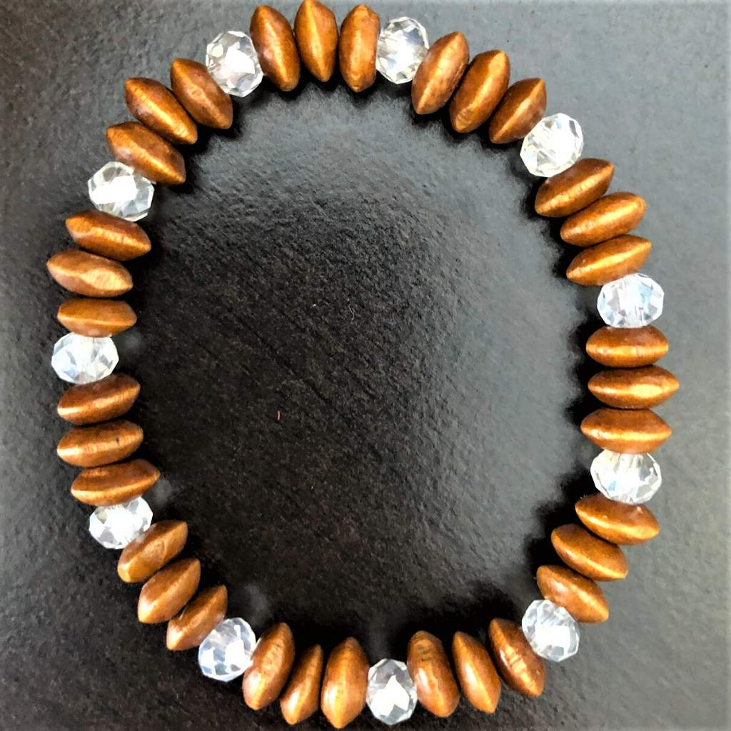Wood and Crystal Rondelle Beaded Bracelet - JaeBee Jewelry
