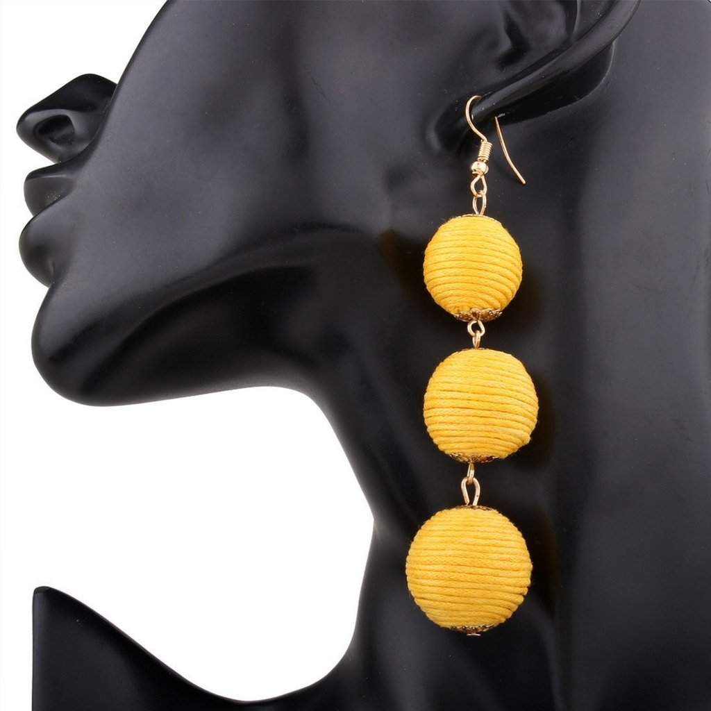 Yellow Thread Ball Long Drop Earrings