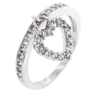 Silver and CZ Heart Charm Ring - JaeBee Jewelry