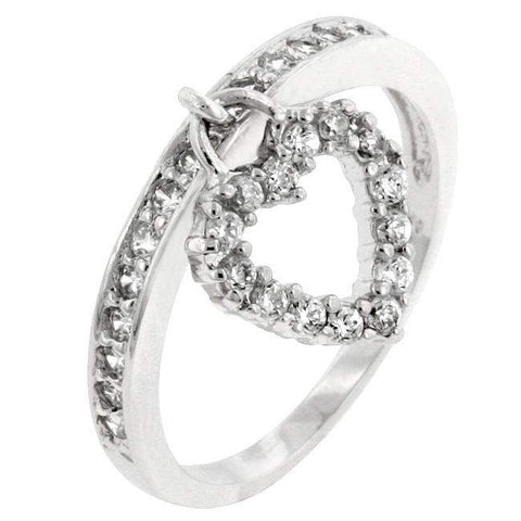 Silver and CZ Heart Charm Ring