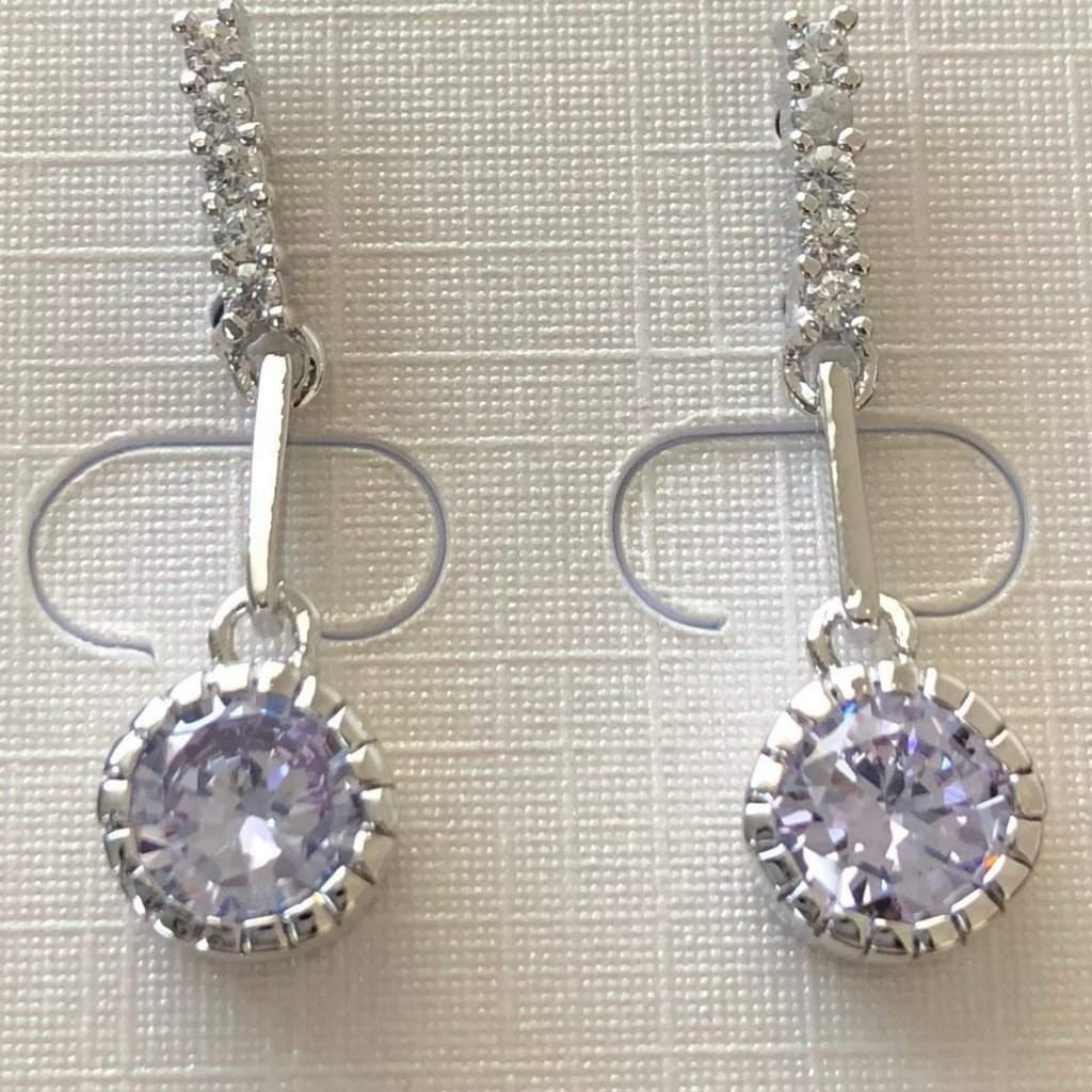 Lavender Cubic Zirconia Dangle Earrings - JaeBee Jewelry