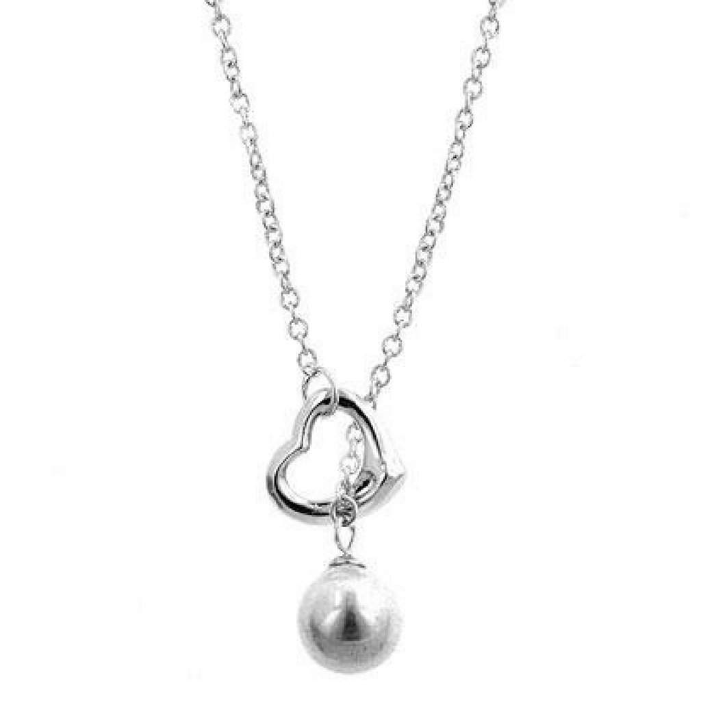 Silver Heart and Pearl Drop Lariat Necklace - JaeBee Jewelry