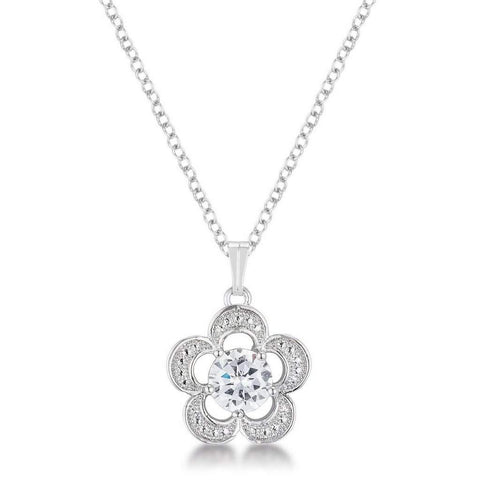 Flower Cubic Zirconia Pendant Necklace
