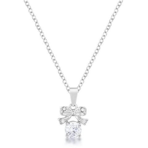 CZ Stone and Bow Pendant Necklace