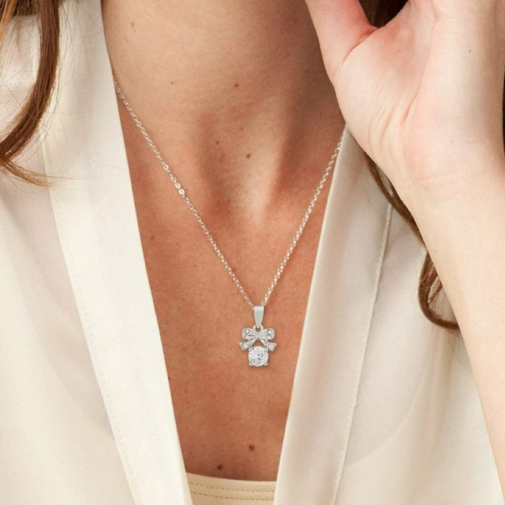 CZ Stone and Bow Pendant Necklace - JaeBee Jewelry