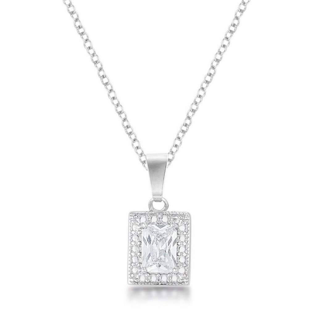 Emerald CZ Stone Pendant Necklace - JaeBee Jewelry