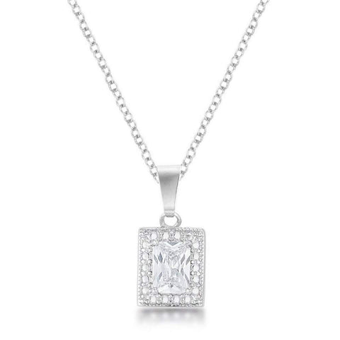 Emerald CZ Stone Pendant Necklace