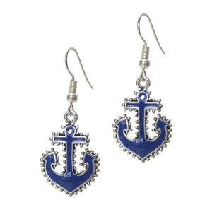 Blue Nautical Anchor Earrings - JaeBee Jewelry