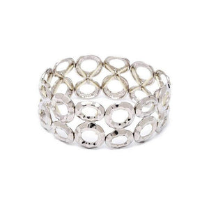 Silver Double Row Circle Stretch Bracelet - JaeBee Jewelry