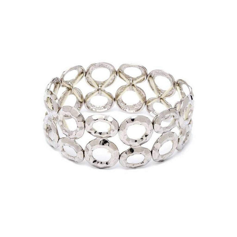 Silver Double Row Circle Stretch Bracelet - JaeBee