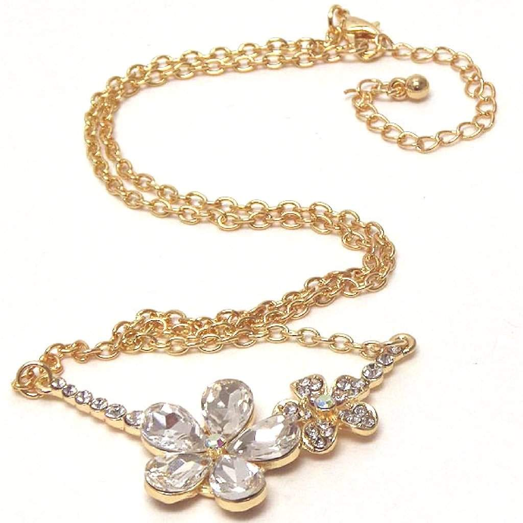 Double Gold Crystal Flower Link Necklace - JaeBee Jewelry
