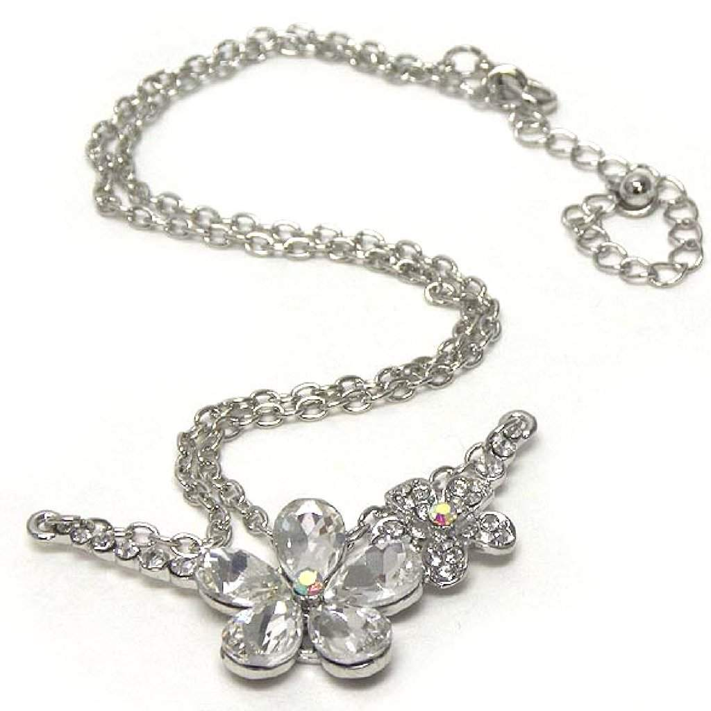 Double Silver Crystal Flower Link Necklace - JaeBee Jewelry