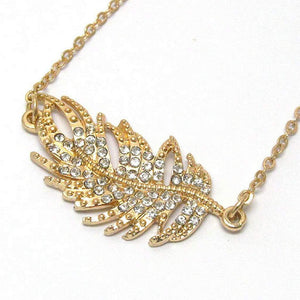Gold and Crystal Leaf Pendant Necklace - JaeBee Jewelry