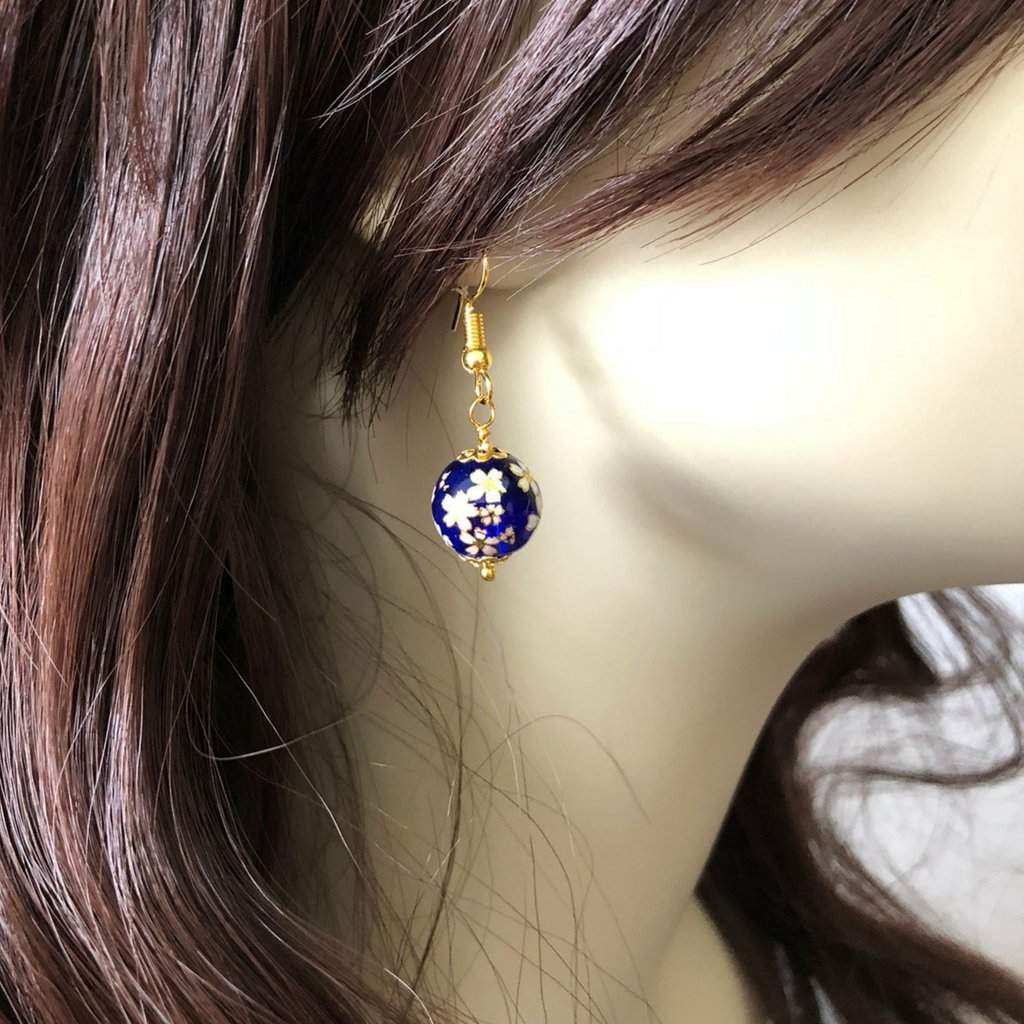 Blue Glass Bead and Flowers Dangle Earrings - JaeBee Jewelry