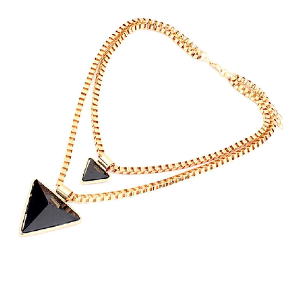 Black Double Layered Triangle Pendant Necklace - JaeBee Jewelry
