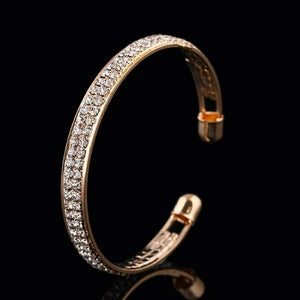 Gold and Crystal Cuff Bracelet - JaeBee Jewelry