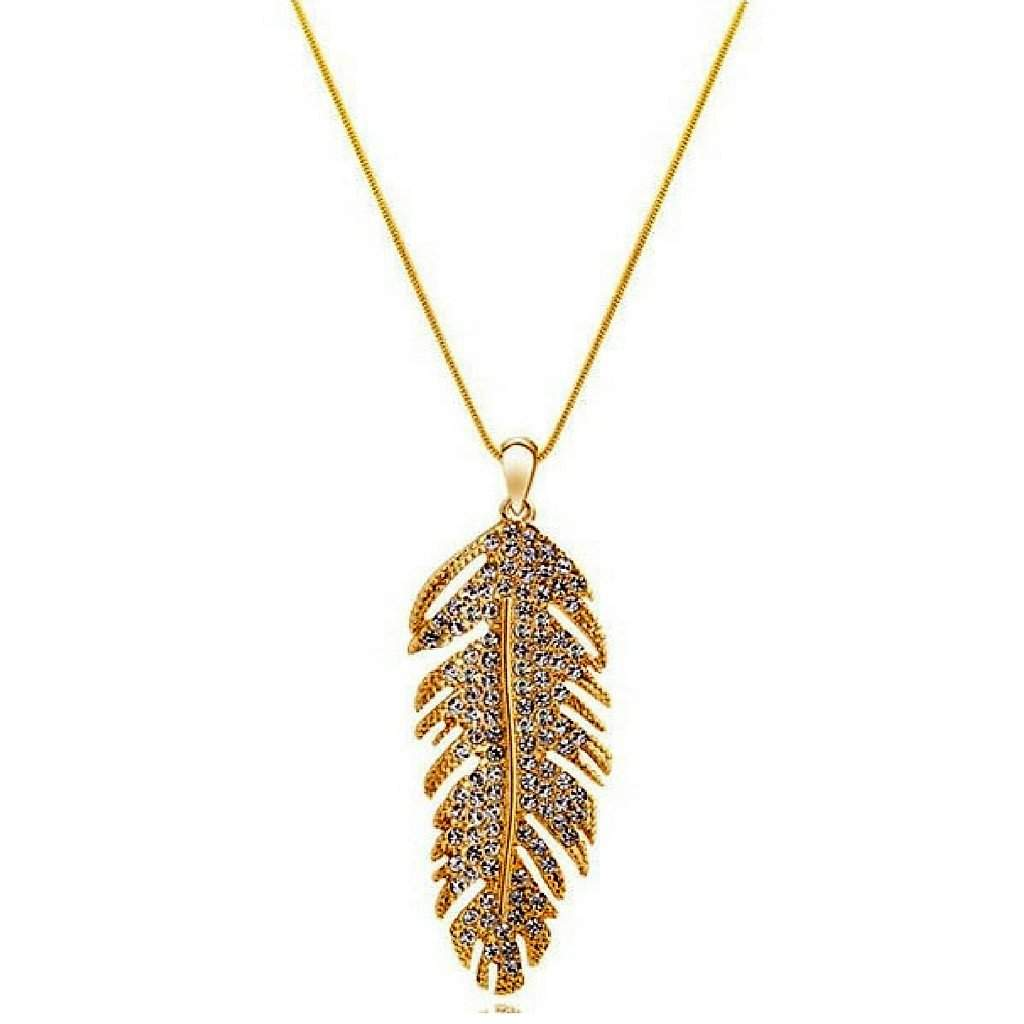 Gold and Crystal Feather Pendant - JaeBee Jewelry