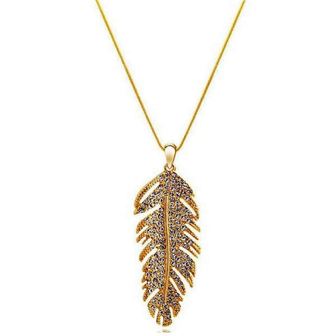 Gold and Crystal Feather Pendant