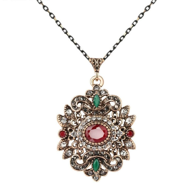Red and Green Stone Ornate Gold Pendant Necklace - JaeBee Jewelry