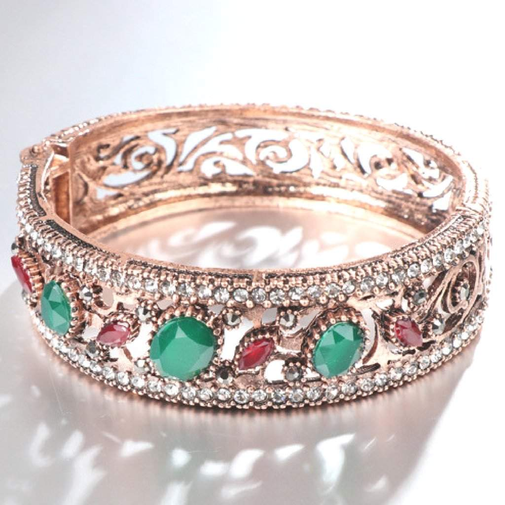 Gold Antique Crystal Red and Green Bangle Bracelet - JaeBee Jewelry