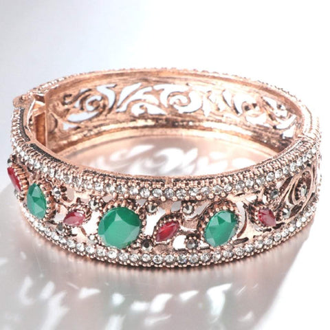 Gold Antique Crystal Red and Green Bangle Bracelet