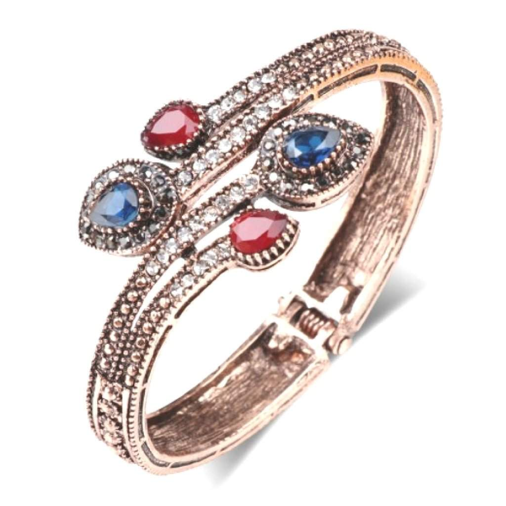 Antique Gold Bangle Bracelet with Red and Blue Stones - JaeBee Jewelry