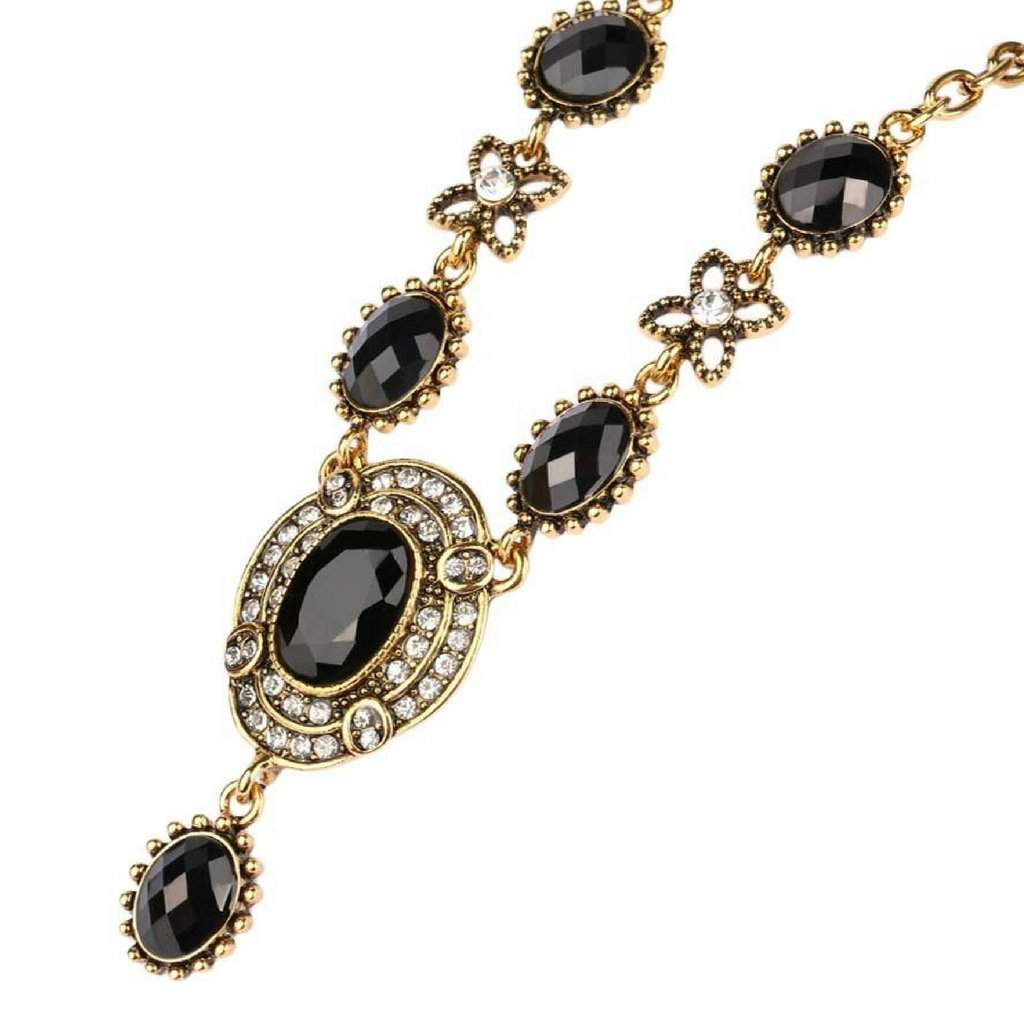 Vintage Black and Gold Drop Pendant Collar Necklace