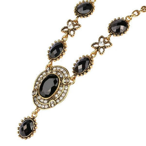 Vintage Black and Gold Drop Pendant Collar Necklace - JaeBee Jewelry