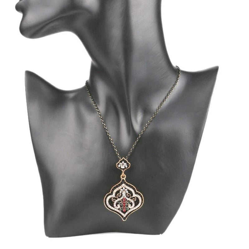 Black Pendant with Silver Crystals Ornate Pendant Necklace - JaeBee Jewelry