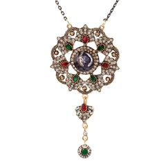 Ornate Gold Pendant with Blue Red and Green Stones Necklace