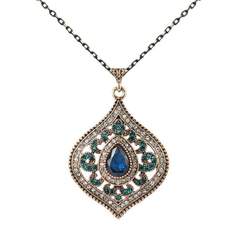 Blue Crystal Antique Gold Pendant Necklace