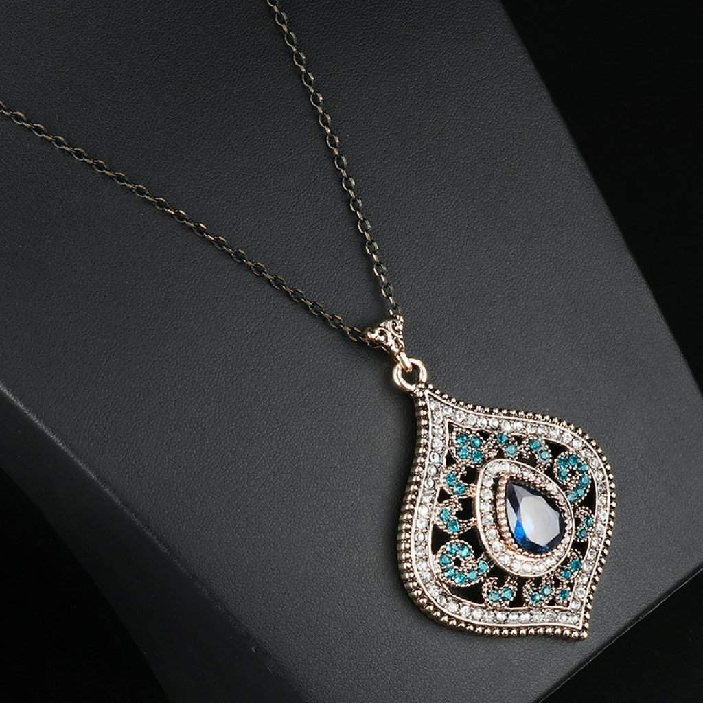 Blue Crystal Antique Gold Pendant Necklace - JaeBee Jewelry