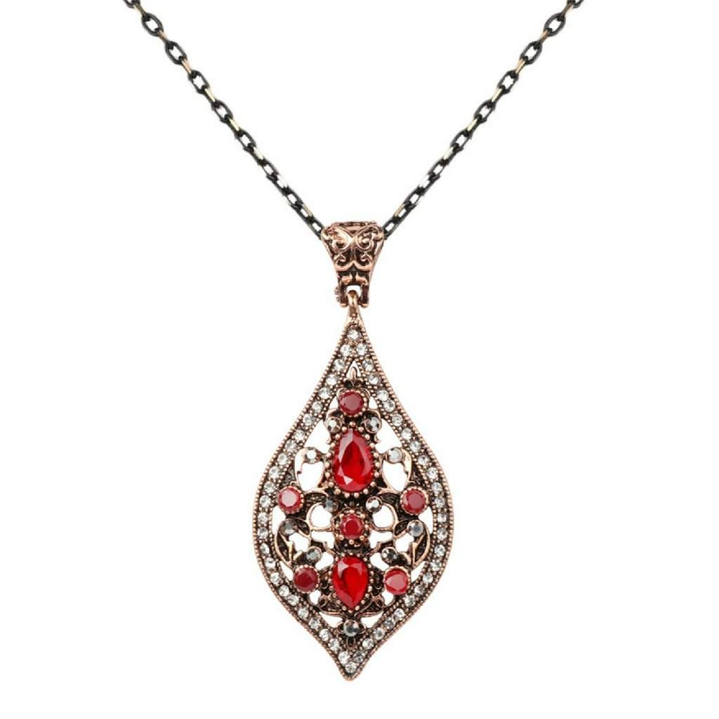 Antique Gold and Red Crystal Pendant Necklace - JaeBee Jewelry