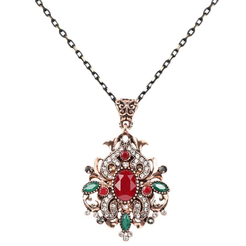 Red Stone Ornate Gold Pendant Necklace - JaeBee Jewelry