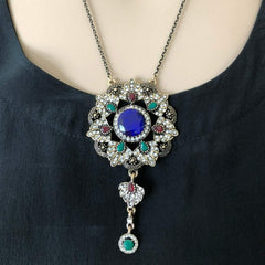 Ornate Gold Pendant Necklace with Blue Red and Green Stones