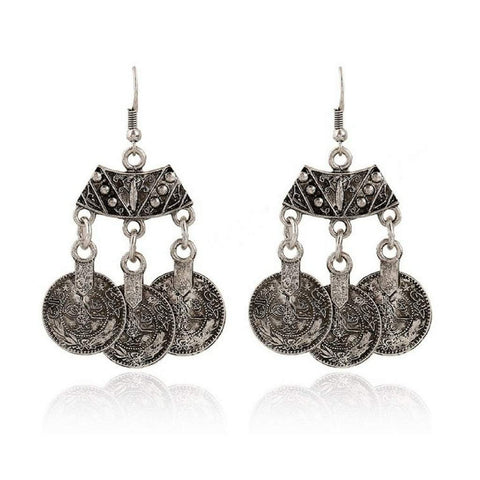Silver Coin Dangle Boho Earrings