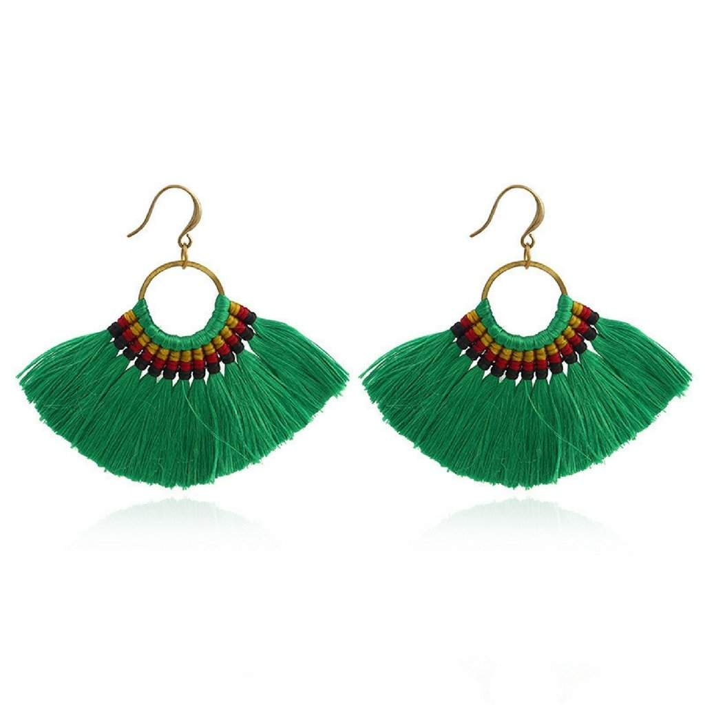 Green Tassel Fan Dangle Earrings - JaeBee Jewelry