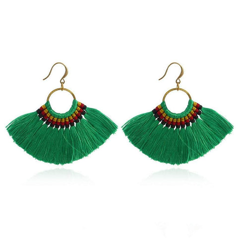 Green Tassel Fan Dangle Earrings