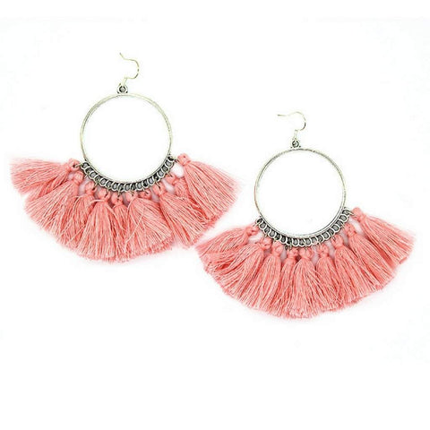 Pink Tassel Silver Hoops Dangle Earrings