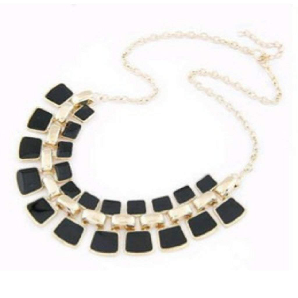 Black Square Enamel Link Collar Necklace - JaeBee Jewelry