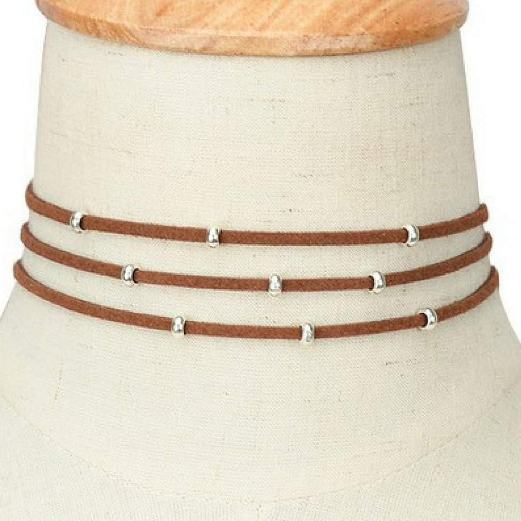 Brown Suede Multi Strand Choker with Silver Beads - JaeBee