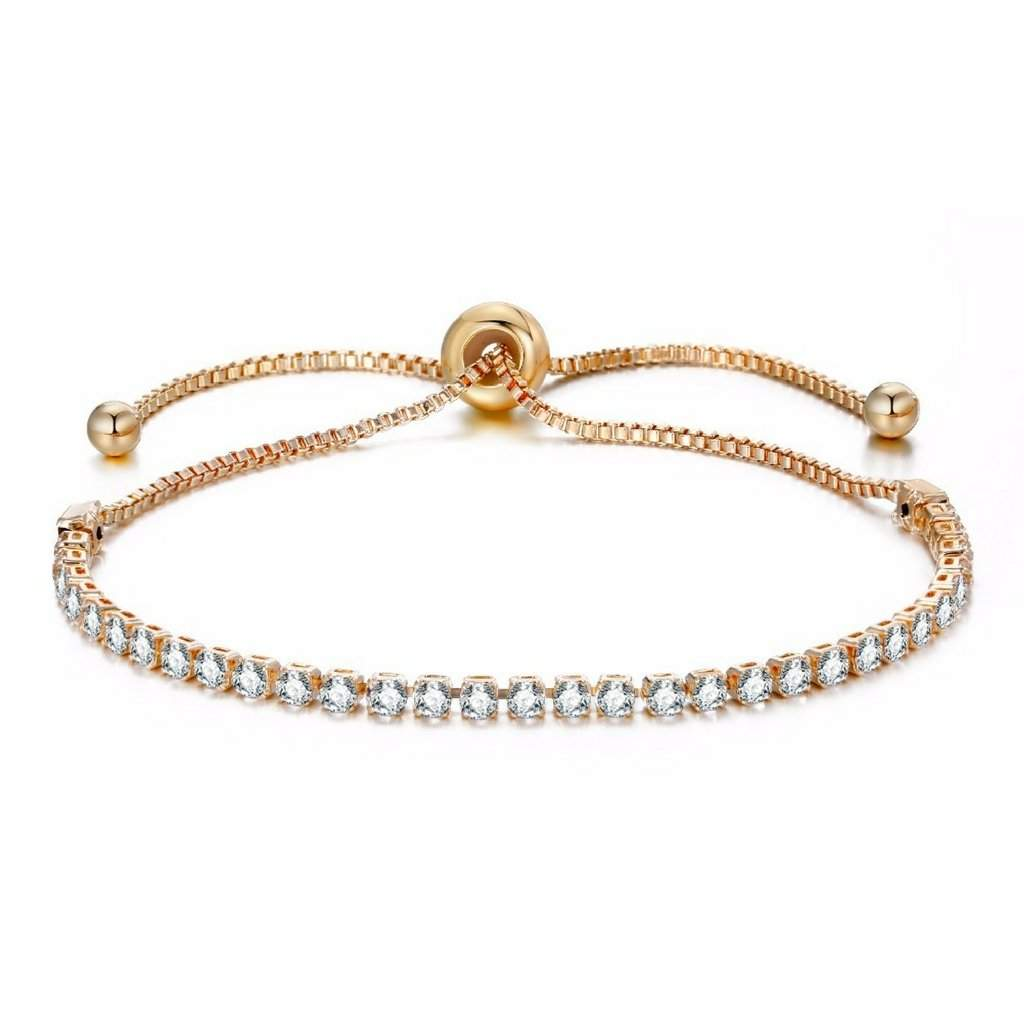 Crystal Adjustable Gold Tennis Bracelet - JaeBee Jewelry