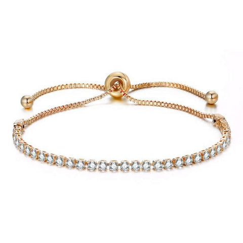 Crystal Adjustable Gold Tennis Bracelet