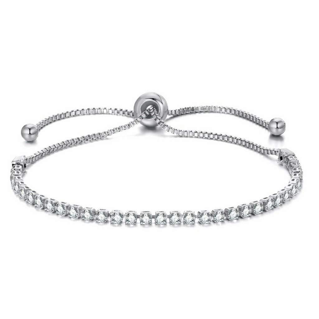Crystal Adjustable Silver Tennis Bracelet - JaeBee Jewelry