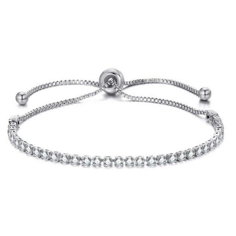 Crystal Adjustable Silver Tennis Bracelet