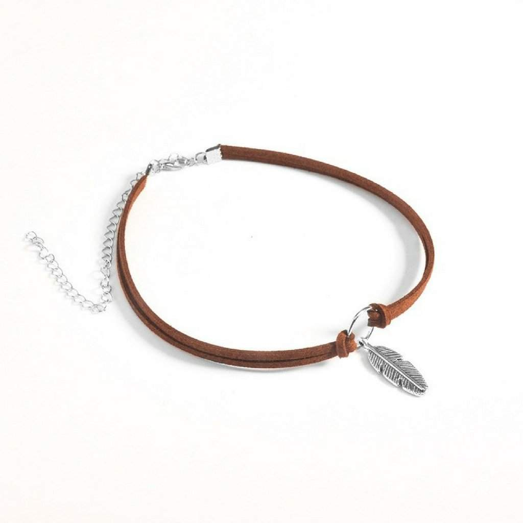 Brown Choker with Silver Circle and Feather Charm - JaeBee Jewelry