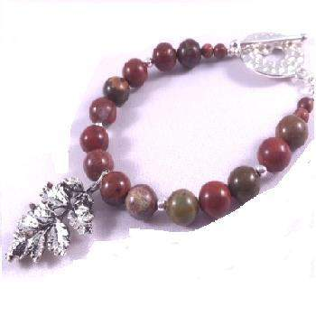 Apple Jasper Beaded Bracelet with Leaf Charm
